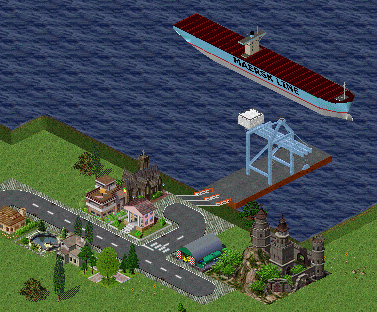 Emma Maersk looming over some hopeless village